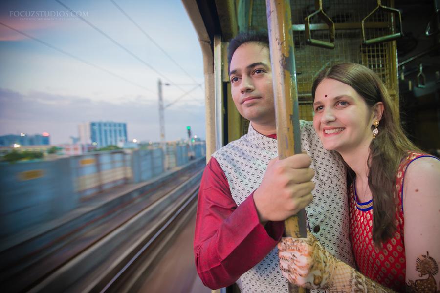 couple shoot in chennai local train