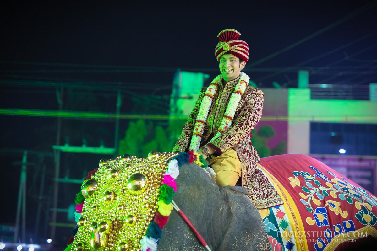 Groom-riding-an-elephant-telugu-wedding-rituals-2